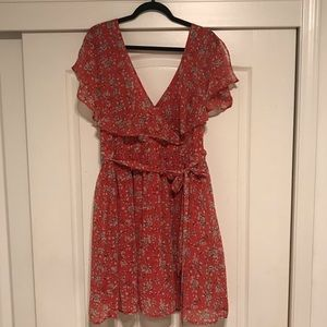 Orange Floral Print Dress with tie in the front